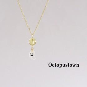 .☆ハロウィン☆ 富と幸を運ぶ石 シトリンとオバケのネックレス(ゴールドカラー)