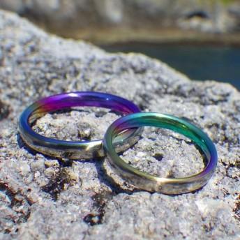 リングの内側に色とりどりのグラデーション ジルコニウムの結婚指輪