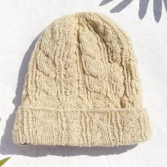 ツイスト淡黄色ベージュ - クリスマス・マーケットクリスマス限定版の純粋なウールの帽子/ニット帽/ニットキャップ/内側毛手織りキ