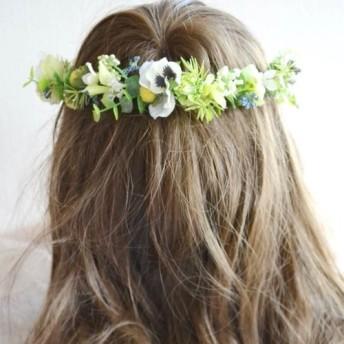 ホワイト・イエローの小花とハーブの花冠