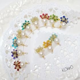 【12ヶ月のJEWEL】お花とコットンパールのイヤリング