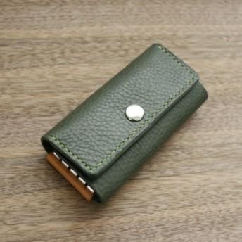 【送料無料】上質なイタリア革に毎日が楽しくなる. 牛本革のベーシックキーケース。日本製 グリーン
