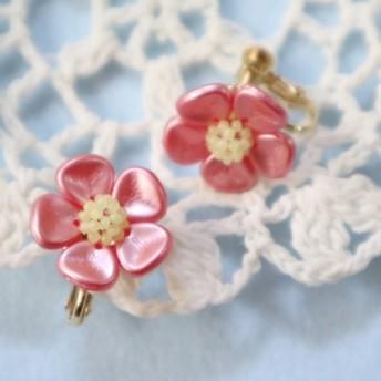 キャンディーフラワー・イヤリング(ピンク・フラワーのみ)*花 繊細 かわいい 可愛い 上品 華やか 梅 正月 春 冬