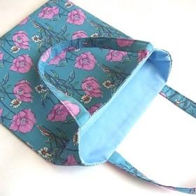 リバティのミニバッグ(少し台形) ポワレ(ライトブルー・ピンク)⧜受注制作⧜