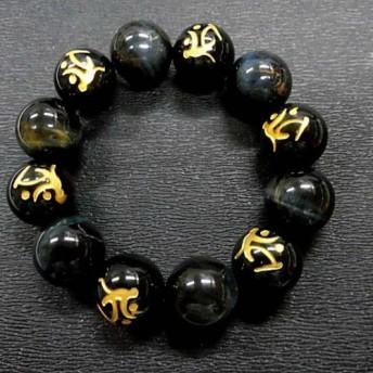 天然石 オニキス虚空蔵菩薩+ブルータイガーアイプレスレット 17.5mm玉 内周18.6cm 160720981