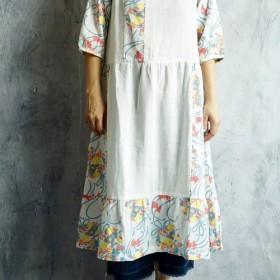 ダブルコットンパッチワークドレス
