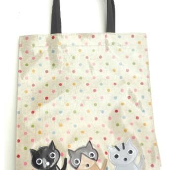 猫柄 トートバッグ サブバッグ a4 ビニール 防水 猫グッズ 雑貨 プレゼント かわいい 人気 3匹猫 黒猫 トラ猫