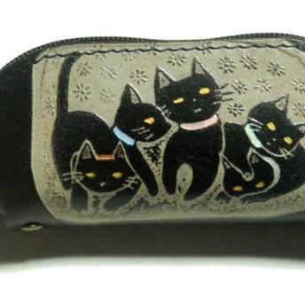 猫のデザイン レザークラフト ndハンコケース 5匹猫 catwalk oikawa