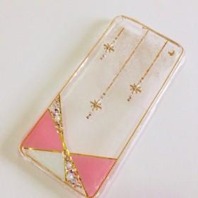 流れ星透明ピンクなiPhone スマホケース キラキラ スワロ