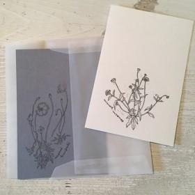 花のカードと封筒セットA