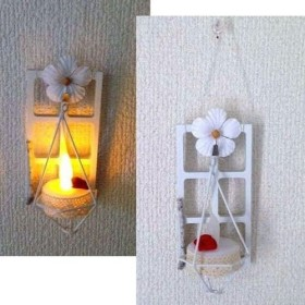 白いお花♪アンティーク風ウッドミニ窓枠のランタンLEDキャンドルライト★壁飾り