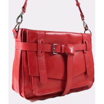 KAY Classic Leather Satchel /Crossbody Bag - Poppy Red