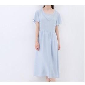 ★SALE★【M】刺繍入りシンプルな半袖ロングワンピース♪