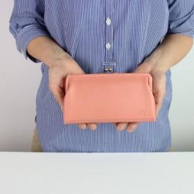 【送料無料】姫路産ソフトレザー がま口のお財布 ピンク 長財布 本革