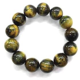 天然石 黄藍タイガーアイ15.5mm玉ブレスレット 内周:約18cm 160720314