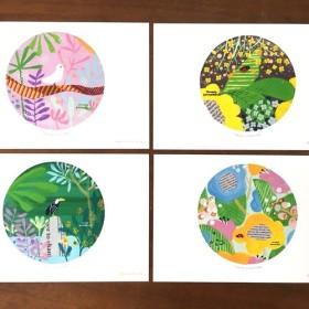 カラフルポストカード4枚set(貼り絵風)