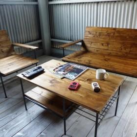 【ソファセット】 【送料無料】アイアン ウッド リビング ソファ ローテーブル セット