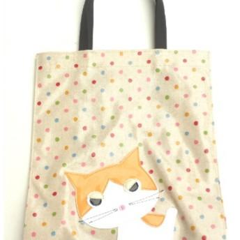 猫 グッズ 雑貨 柄 ハチ割れ猫 トートバッグ a4 サブバッグ ビニール 防水 ふきげん猫