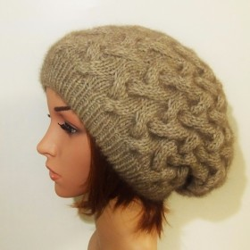 ☆受注製作☆ NZポッサム・メリノ・シルク なわ編み帽