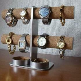 彼氏へのプレゼントに!ダブル丸トレイ8本掛けインテリア腕時計スタンド