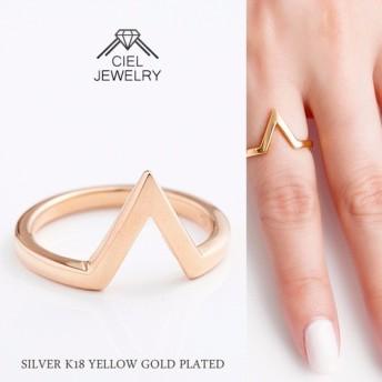 「V」ライン リング K18仕上げ ring 送料無料 / K18GP 指輪