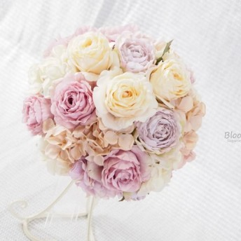 【オーダーメイド】Weddingブーケ~mauve色のラウンドブーケ