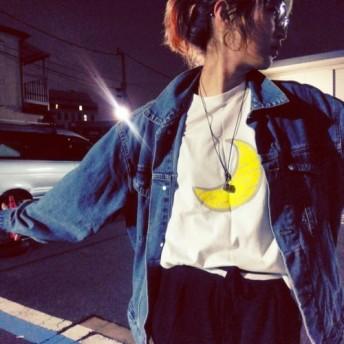 「ルナ月」白サイズXS 創り人的外国の月 オリジナルTシャツ 綿100%