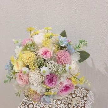 パステルカラー小花いっぱいのウエディングブーケ