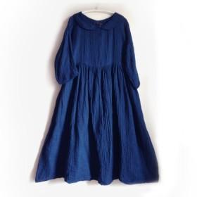 ☆オーダーメイド☆ギャザーたっぷりワンピース/長袖・丸えり/お好きな色でお作りします☆
