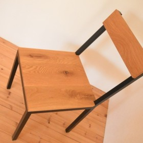 受注製作・サイズオーダ可!総無垢ホワイトオーク× 鉄脚・アイアン椅子(チェア)※(マットブラック焼き付け塗装)