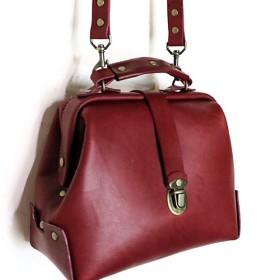 ドクターバッグを背側 - 暗赤色の[+排他的なカスタム手作りの革製品ブランド+ +マニュアル+オリジナルブランド台湾の手作り革]