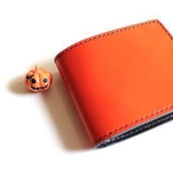【受注生産品】二つ折り財布 栃木アニリン橙×栃木ブラックサドル