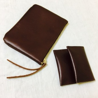 ★cardcase & coincase darkbrown レザー simpleデザイン