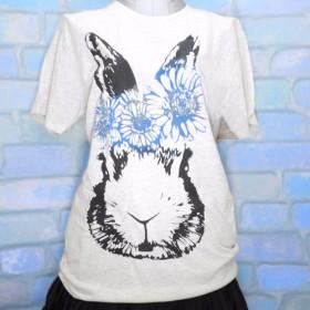花ウサギのTシャツ(青)