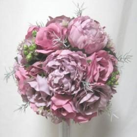 バラとしゃくやくのラウンドブーケ♪セール中♪ウェディングブーケ♪生花みたいに綺麗な造花です♪高品質なのに安い