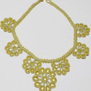 オヤ刺繍 ネックレス グラデーション(薄黄緑、黄色)