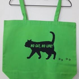 「NO CAT, NO LIFE」歩き猫 大トートバッグ グリーン