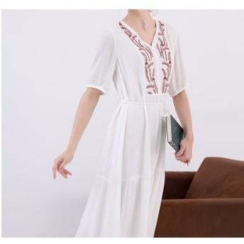 【L】刺繍入りシンプルなロングワンピース♪