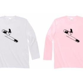 トロンボーンと黒猫の長袖Tシャツ
