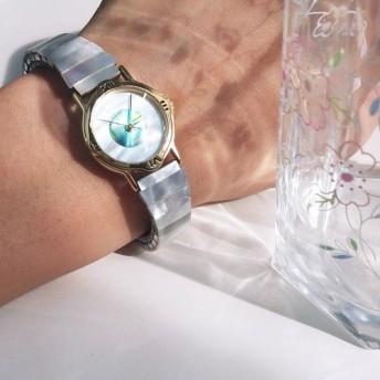 派手な 天然石 虹色貝 白碟貝 伸縮式 のバンド 腕時計