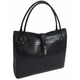 オール牛革 本革バッグ トートバッグ ハンドバッグ ヒネリ金具付き 軽量 リアルレザー クロコ型 ブラック