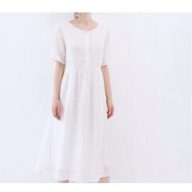 【L】刺繍入りシンプルな大人可愛い半袖ワンピース♪