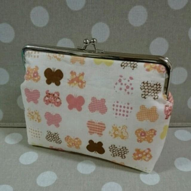 ちょうちょ柄のがま口母子手帳ケース♪【ピンク】18cm