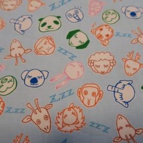 大きめランチマット(水色・動物)/ Large Lunch mat (blue, animals)