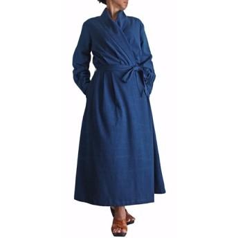 ジョムトン手織綿カシュクールドレス インディゴ(DNN-074-03)