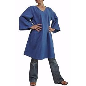 ジョムトン手織り綿のシンプルV襟チュニック(BFS-148-03)