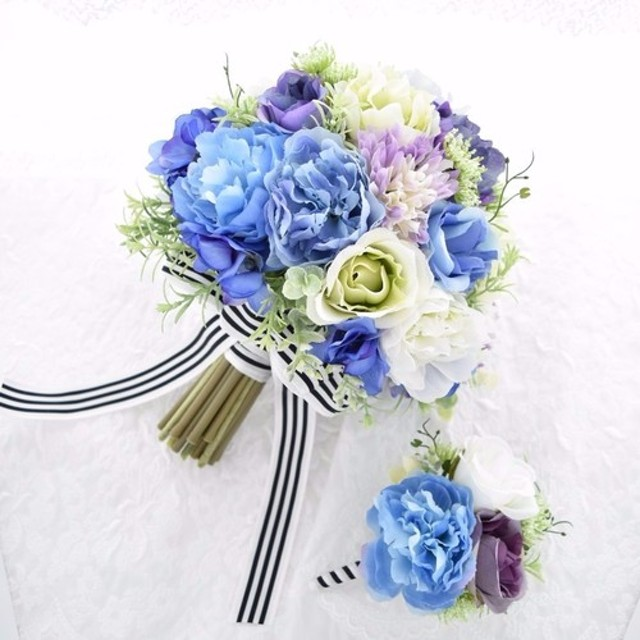 再々販・クラッチブーケ(ブルー・ライラック・グリーン・ホワイト)(ウエディングブーケ造花)