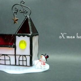 X'mas house クリスマス LEDキャンドル ステンドグラス