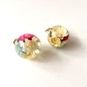 16KGP antique-color flower pierce/ earring red