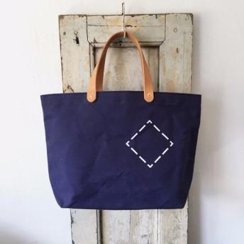 お好きな文字を鞄にどうぞ。パラフィン帆布紺シンプルトートS INDBNP_0404